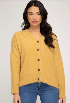 She + Sky Fuzzy Button Down Cardigan in Golden Yellow