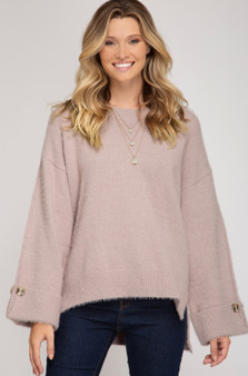She + Sky Fuzzy Sweater with Cuffed Sleeves in Pale Pink