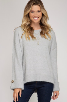 She + Sky Fuzzy Sweater with Cuffed Sleeves in Pale Blue