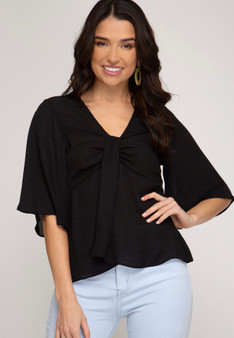 Half Flutter Sleeve Top with Knot Detail in Black