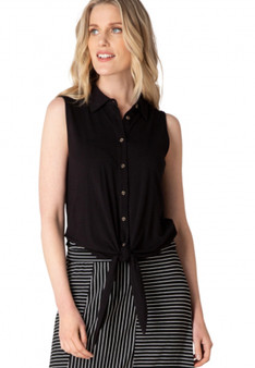Yest Sleeveless  Knit Top with Tie in Black
