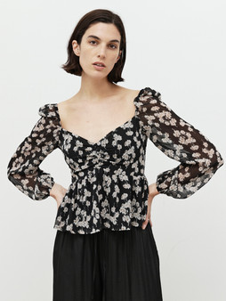Puff Sleeve Blouse in Black and White Print