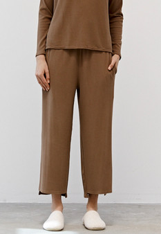 Rib Knit Wide Leg Pants with Pockets in Tan