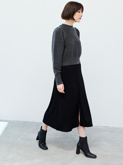 Rib Knit Long Skirt with Button Detail in Black