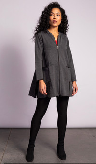 LIV by Habitat French Terry Long Jacket with Pockets in Charcoal