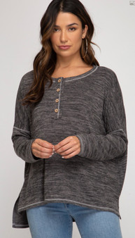 She + Sky Oversized Henley Top in Charcoal