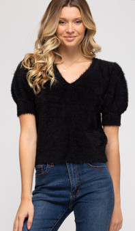 She + Sky Fuzzy Sweater with Gathered Sleeves in Black