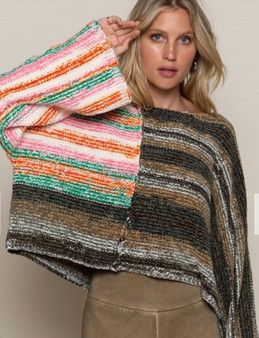Chenille Mixed Pattern Crop Sweater