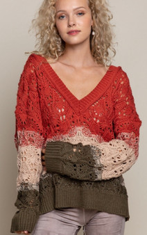 Deep V Neck Ombre Sweater