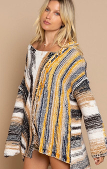 Mixed Stripe Pattern Sweater with Fringe Detail