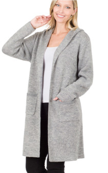 Long Hooded Cardigan with Pockets in Heather Gray