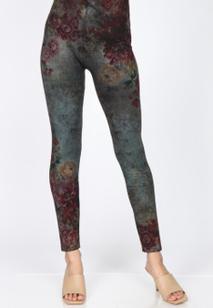High Waisted Leggings In Soft Fall Floral Print