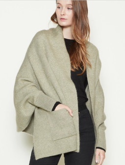 Shrug Cape Cardigan with Pockets in Sage