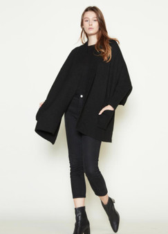 Shrug Cape Cardigan with Pockets in Black