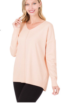Cashmere Feel VNeck Sweater with Front Seam in Blush