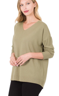 Cashmere Feel VNeck Sweater with Front Seam in Khaki