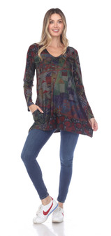 Inoah V Neck Tunic in Floral Abstract Print