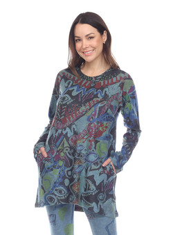 Inoah Crew Neck Tunic in Teal Burgundy Abstract Print