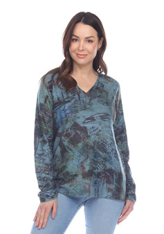 Inoah V Neck Top in Teal and Olive Abstract Print