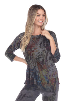 Inoah Crew Neck Top in Charcoal Abstract Print