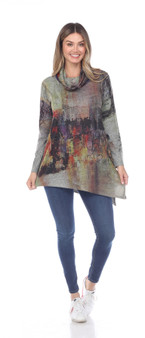 Inoah Cowl Neck Tunic in Abstract  People Print
