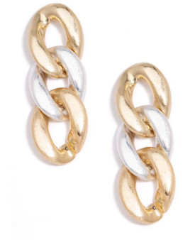 Burnished Curb Chain Drop Earring in Gold and Silver