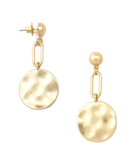 Matte Gold Paper Clip and Coin Medallion Earrings