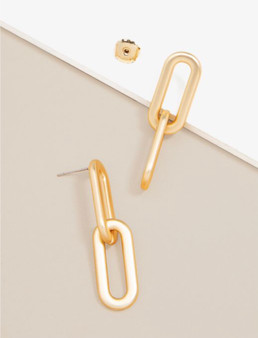 Matte Gold Cable Link Drop Earrings