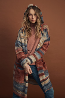 Charlie B Cardigan Sweater with Hood in Multi Stripes