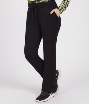 Renuar Knit Casual Pants with Mesh Trim in Black
