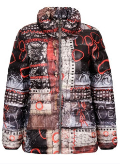 Dolcezza Puffer With High Neck in Artist Print Red And Black