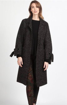 Black Knit Cardi-Coat with Tie Sleeves