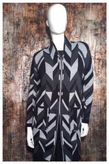 Geometric Pattern Coat Sweater in Gray and Black