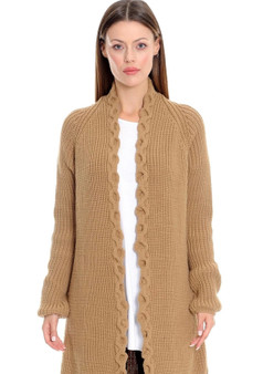 Cozy Coat Sweater in Camel with Fluted Label