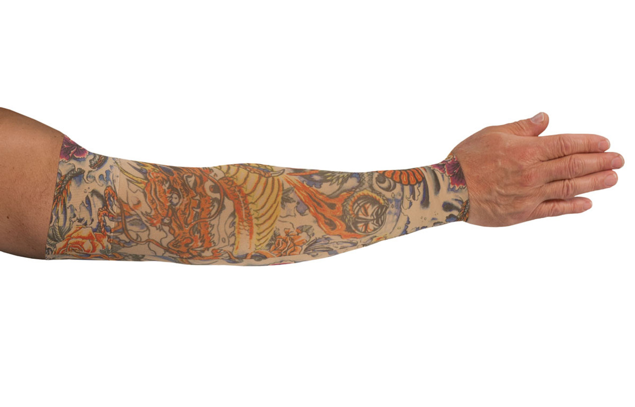 Lotus Dragon Tattoo Arm Sleeve