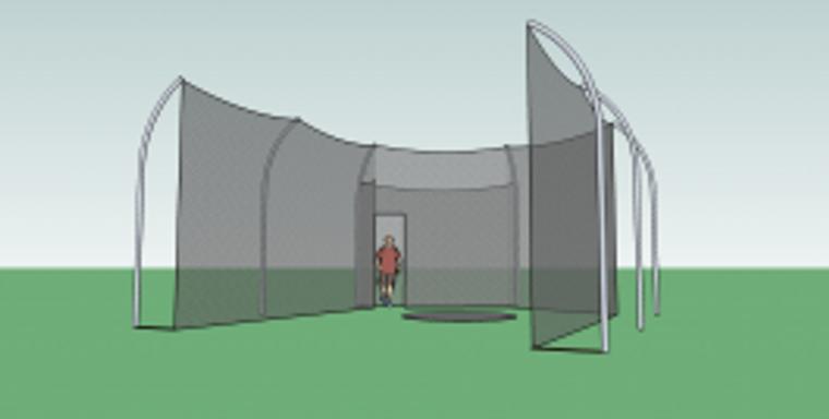 Gill Aluminum Discus Cage 6 Pole - High School