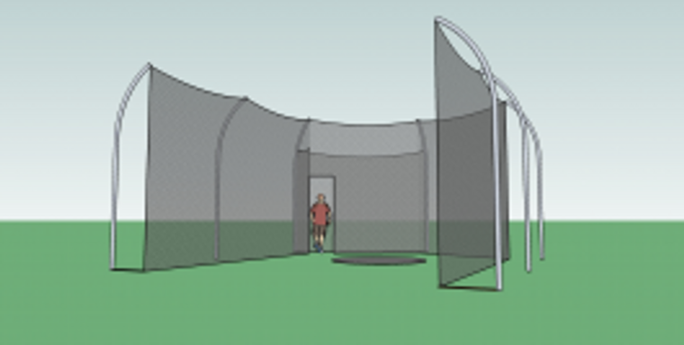 Gill Aluminum Discus Cage 7 Pole Rear Access-High School