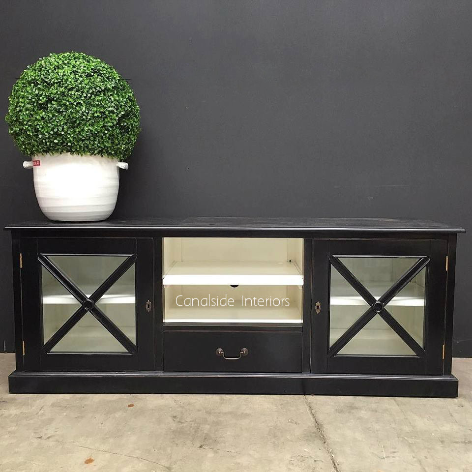 South Hamptons TV Unit Black with White Interior  HAMPTONS Style, PLANTATION Style, LIVING Room, LIVING TV Media & Storage