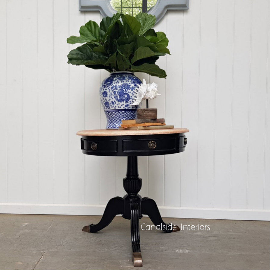 Cobble Hill II Round Side Table Distressed Black with Limewash Top  FRENCH  FURNITURE, TABLES, HAMPTONS Style, PLANTATION Style, TABLES Side Tables, LIVING Coffee & Side Tables, BEDROOM Bedsides