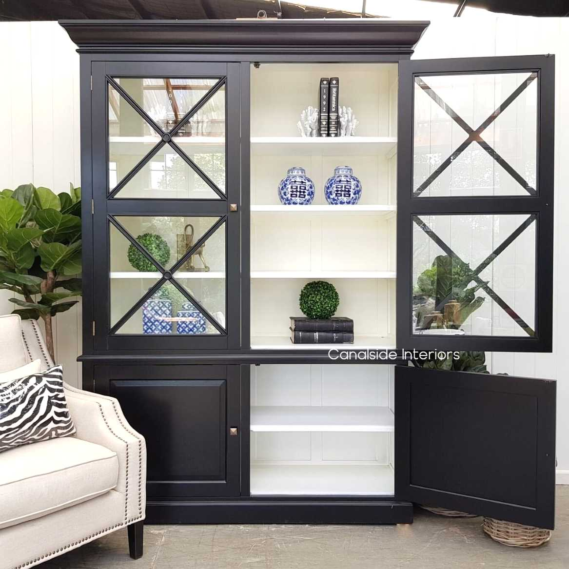 South Hamptons 2 Door Wall Unit Black with White Interior  FRENCH  FURNITURE, HAMPTONS Style, PLANTATION Style, LIVING Room, LIVING Cupboards & Bookcases, STORAGE, STORAGE Bookshelves & Cupboards