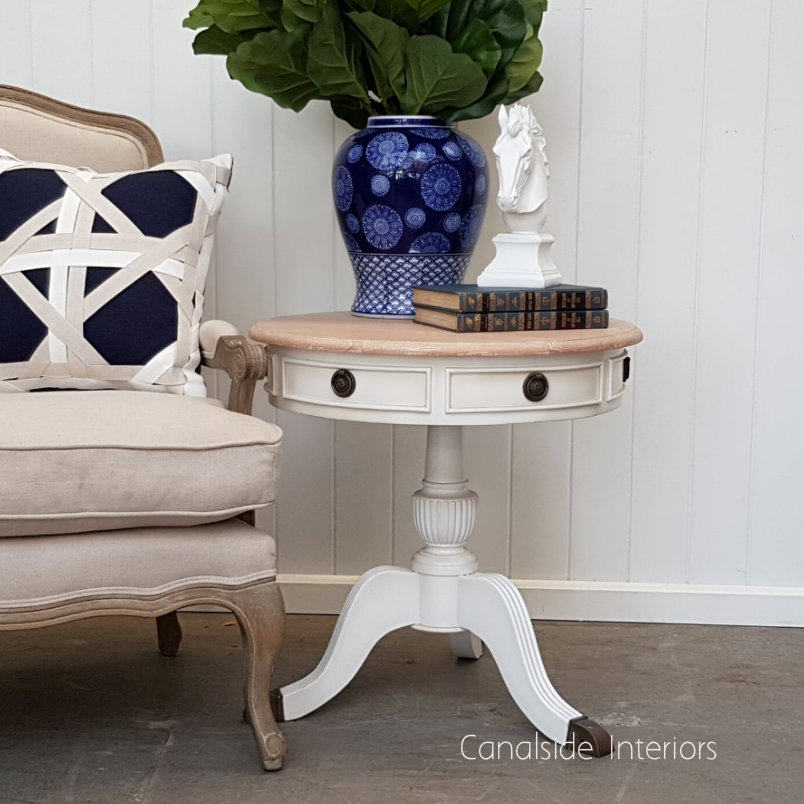 Cobble Hill II Round Side Table Distressed White with Limewash Top  FRENCH  FURNITURE, TABLES, HAMPTONS Style, PLANTATION Style, TABLES Side Tables, LIVING Coffee & Side Tables, BEDROOM Bedsides