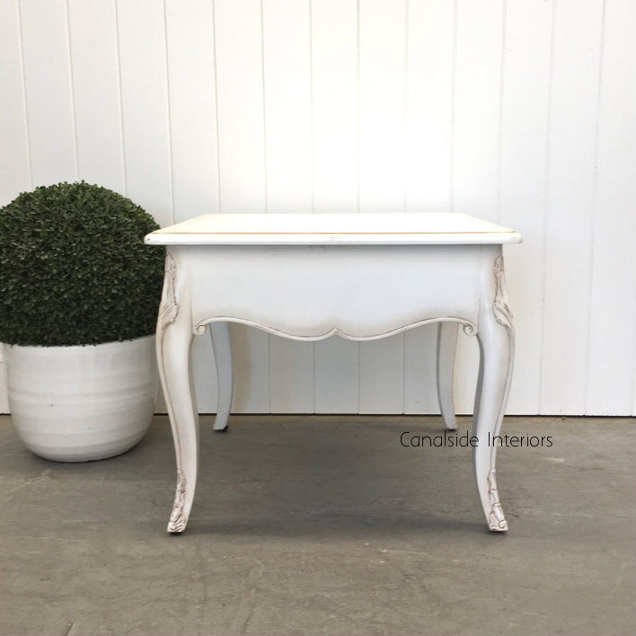 Laurent Side Table Coffee Table Distressed White FRENCH  FURNITURE, TABLES, TABLES Coffee Tables, TABLES Side Tables, LIVING Room, LIVING Coffee & Side Tables