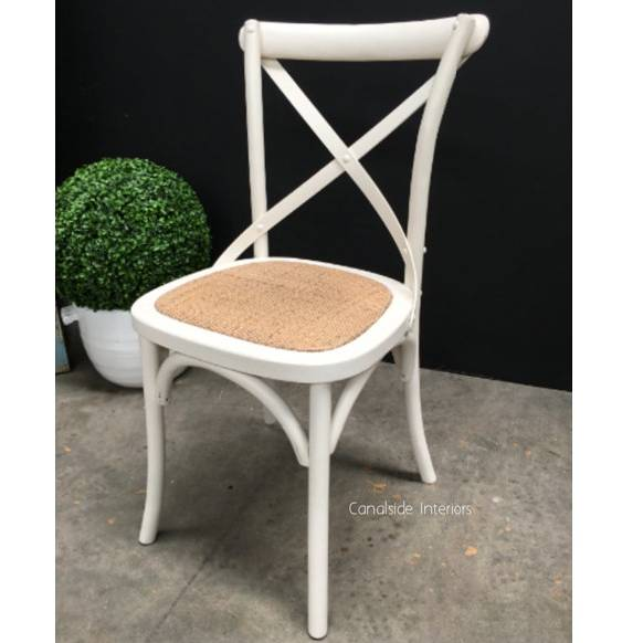 Cross Back Chair Distressed off white  Dining, CHAIRS, CAFE FURNITURE, HAMPTONS Style, PLANTATION Style, CHAIRS Dining, CAFE FURNITURE Stools & Chairs