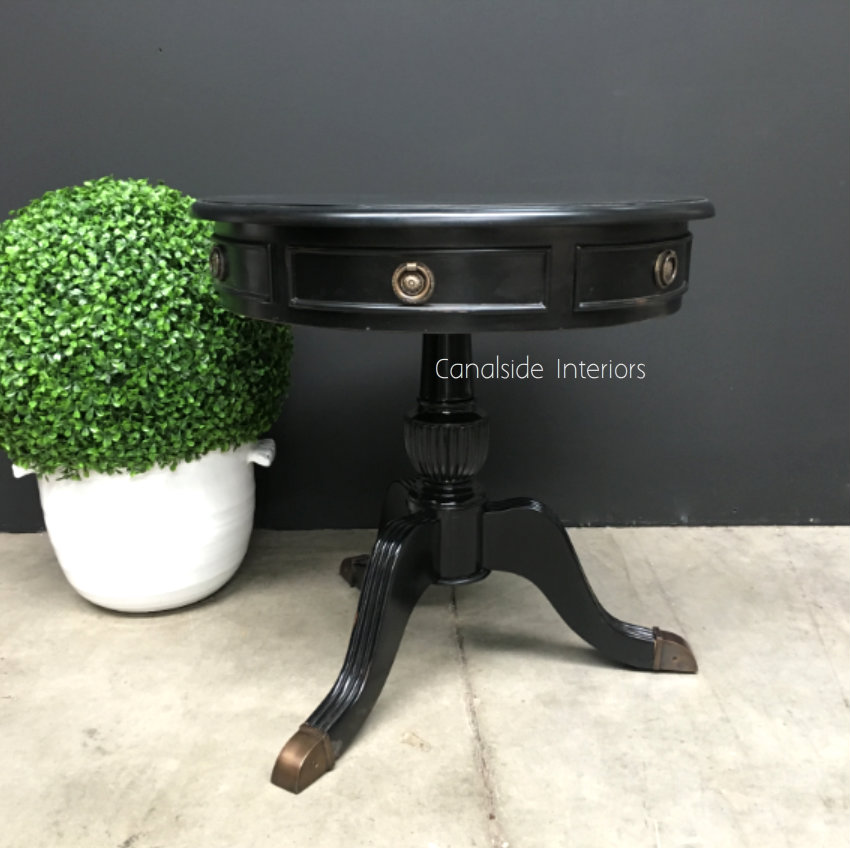 Cobble Hill II Round Side Table Distressed Black  FRENCH  FURNITURE, TABLES, HAMPTONS Style, PLANTATION Style, TABLES Side Tables, LIVING Room, LIVING Coffee & Side Tables, BEDROOM Bedsides
