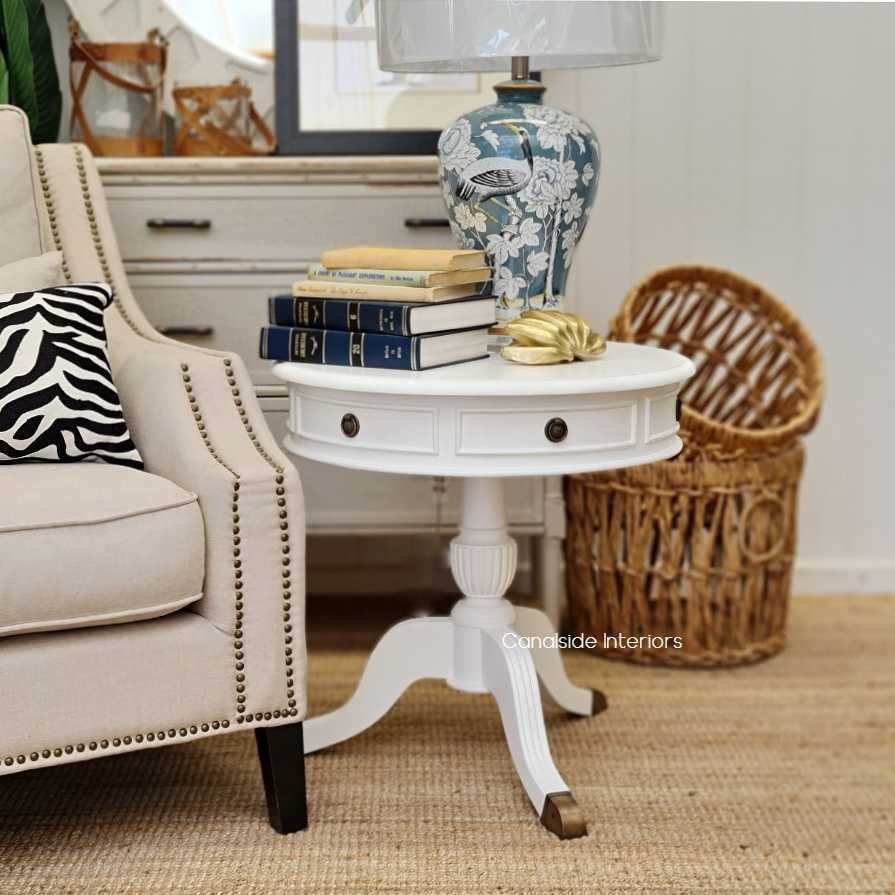Cobble Hill II Round Side Table Distressed White  FRENCH  FURNITURE, TABLES, HAMPTONS Style, PLANTATION Style, TABLES Side Tables, LIVING Room, LIVING Coffee & Side Tables, BEDROOM Bedsides