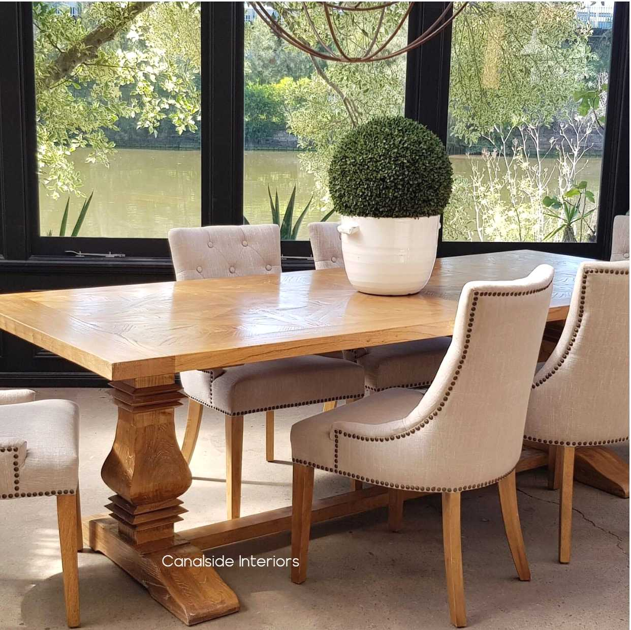 Artisan Parquetry Top Dining Table Canalside Interiors