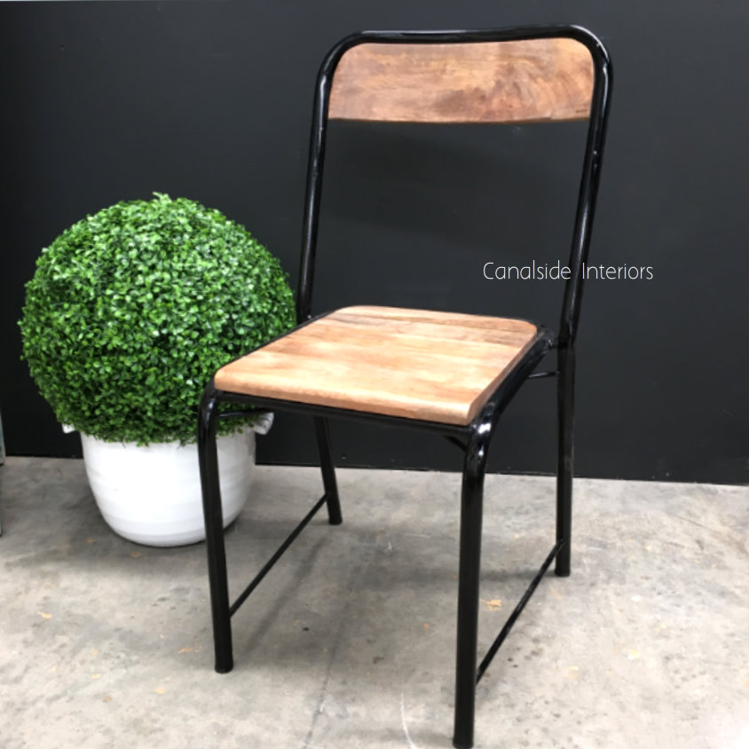Elementary Industrial Dining Chair with side brace Comfortable Size Distressed Black  INDUSTRIAL RUSTIC Style, CHAIRS, CAFE FURNITURE, CHAIRS Dining, CAFE FURNITURE Stools & Chairs