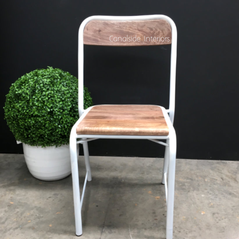 Elementary Industrial Dining Chair with side brace Comfortable Size Distressed White  INDUSTRIAL RUSTIC Style, CHAIRS, CAFE FURNITURE, CHAIRS Dining, CAFE FURNITURE Stools & Chairs