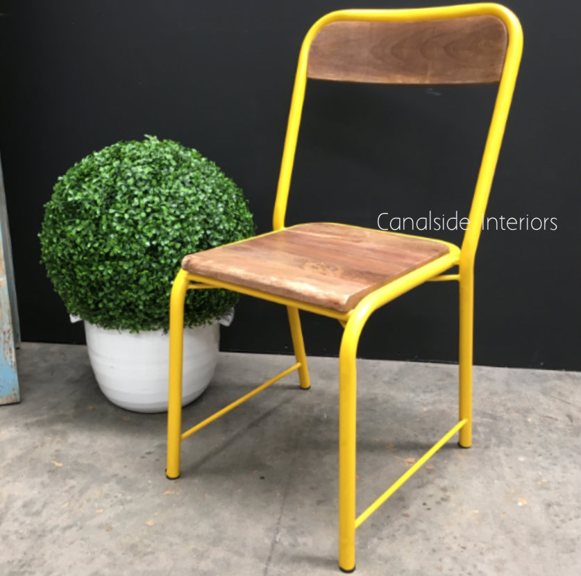Elementary Industrial Dining Chair with side brace Comfortable Size Distressed Yellow  INDUSTRIAL RUSTIC Style, CHAIRS, CAFE FURNITURE, CHAIRS Dining, CAFE FURNITURE Stools & Chairs