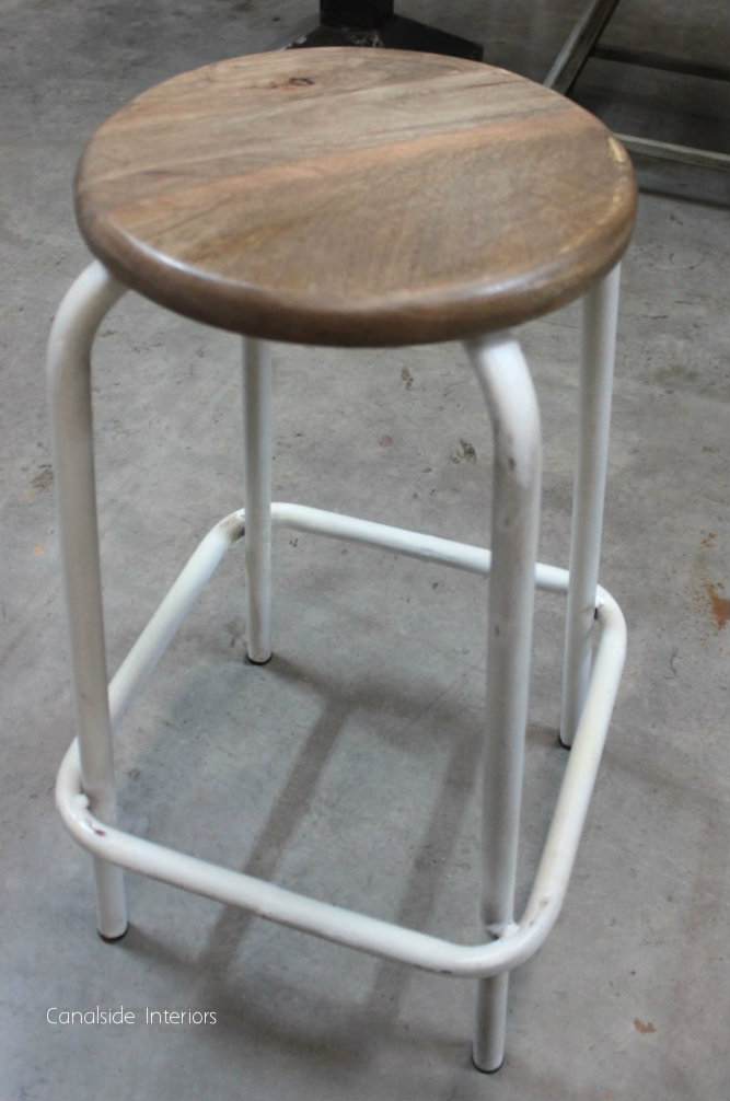 Axis Industrial Bar Stool - Distressed White - Sold Out